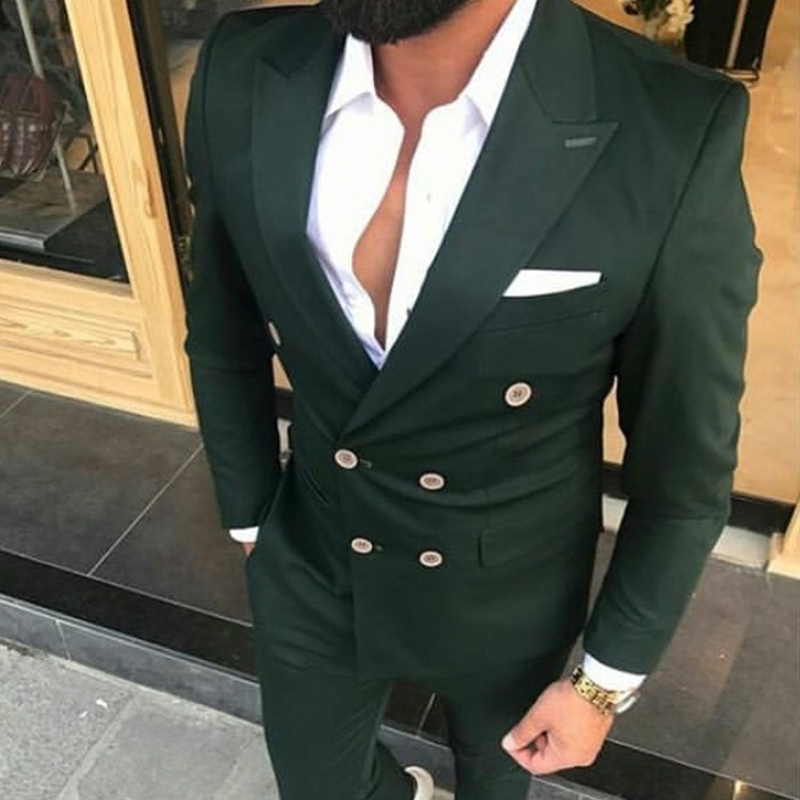 wedding : Slim Fit Double Breasted Men Suits for Wedding Prom 2 Piece Custom Groom Tuxedos Male Fashion Costumes Set Jacket with Pants