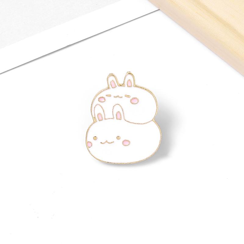 Fat Bunny Enamel Pins Custom Cute Stacked Rabbits Brooch Lapel Pin Shirt Bag Badge Cartoon Animal Jewelry Gift for Kids Friends 5