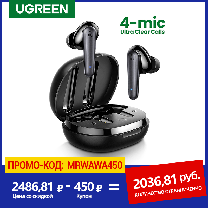 UGREEN HiTune T1 Wireless Earbuds with 4 Mics TWS Bluetooth 5.0 Earphones True Wireless Stereo USB C Quick Charging