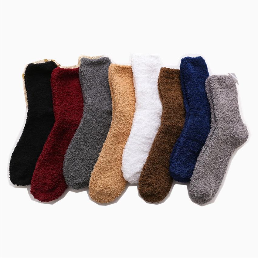 Coral Velvet Socks Winter Kawaii Thick Socks Solid Color Black And White Men's Socks Fuzzy Fluffy Terry Short Cute Socks