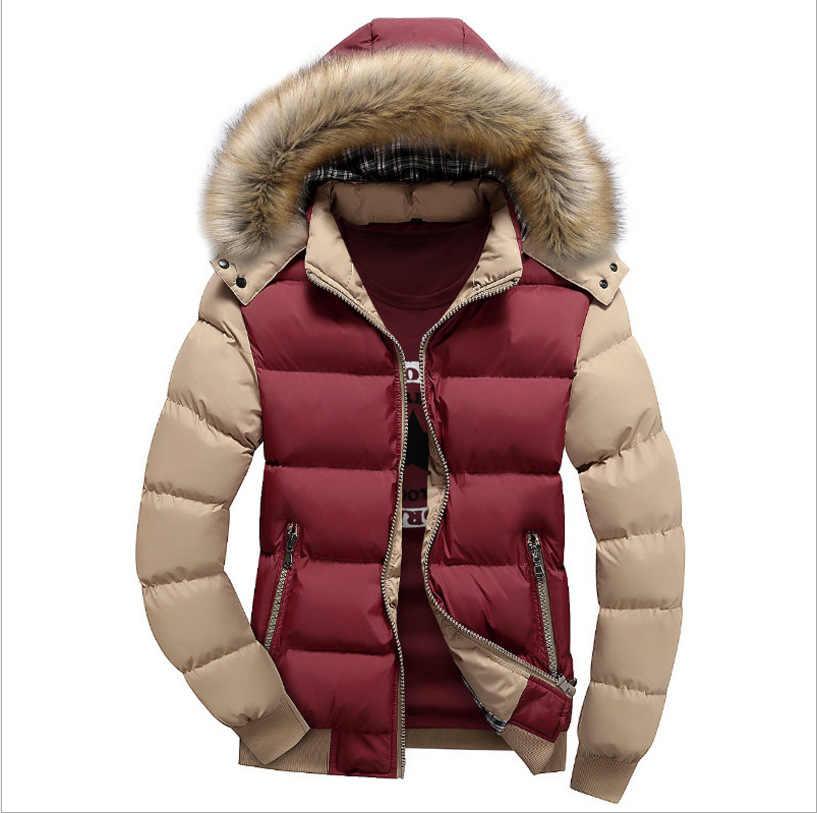 2019 Mannen Donsjack Winter Nieuwe Mannelijke Casual Hooded Outwears Jassen Warm Bont Parka Overjas mannen Effen Dikke Fleece rits Jas