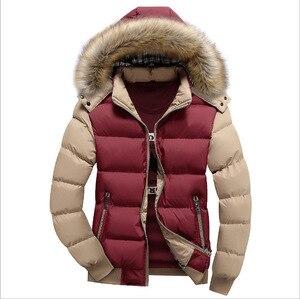 Image 5 - 2020 남성 다운 자켓 겨울 신 남성 캐주얼 후드 아웃웨어 코트 따뜻한 모피 파커 오버 코트 남성 솔리드 두꺼운 플리스 지퍼 자켓