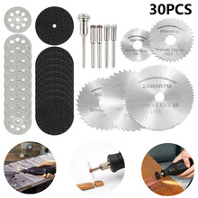 30pcs Metal Cutting Wheel Hss High Speed Steel Rotary Blade Wheel Discs Mandrel For Tools Wood Cutting Saw For Dremel Cutoff