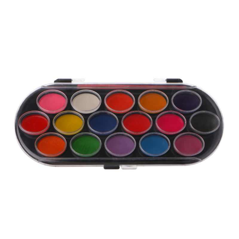 16Pcs Watercolor Palette Brush Set Painting Tray Craft Drawing Art Mini Kid Gift Pigment Powder
