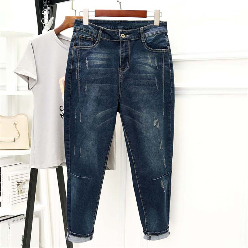 Boyfriend Jeans For Women Loose Elastic Denim Harem Pants Trousers Women Vintage Large Size Black Wide Leg Mom Jeans 5XL Q2323