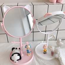 Вращающееся зеркало держатель для хранения косметики с настольным