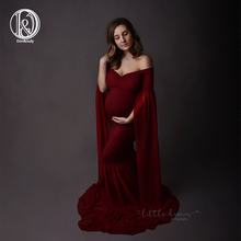 D&J 2019 Fashion Maternity Dress for Photo Shoot Maxi Maternity Gown Extend Long Sleeves Fancy Women Maternity Photography Props