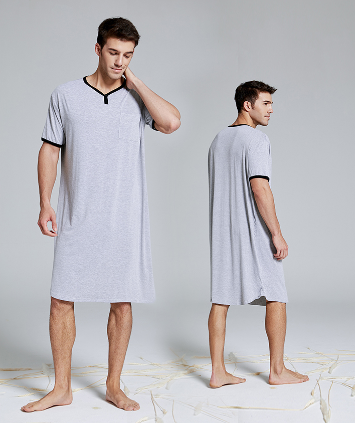 Men Sleep Robes Short Sleeve Solid Pajamas Pockets Cozy Cotton Vintage Homewear Nightgown Mens Bathrobes