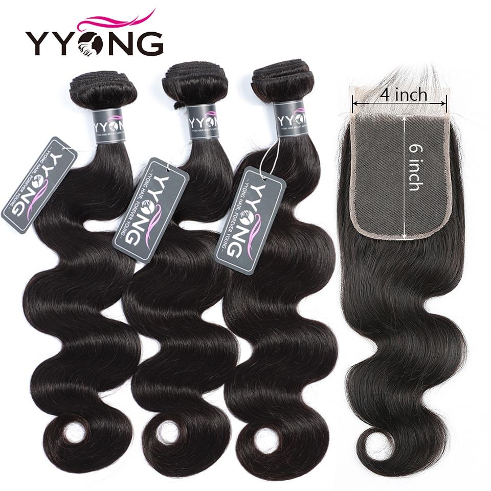 Yyong 4x6 Fechamento Com Feixes de Cabelo Remy Onda Do Corpo Brasileiro 3/4 Pacotes Com Fecho de Cabelo Humano Weave Bundles com Fecho