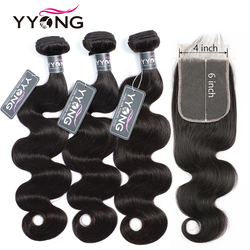 Yyong Hair 4x6 Closure With Bundles Remy Brazilian Body Wave 3/4 Bundles With Closure Human Hair Weave Bundles With Closure