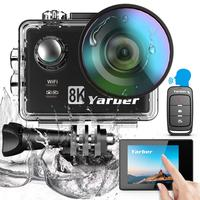 Yarber 8K 20MP Sports Action Video Cameras WIFI Bluetooth Waterproof Camara Sport Action Camera Voice Control Helmet Cam with