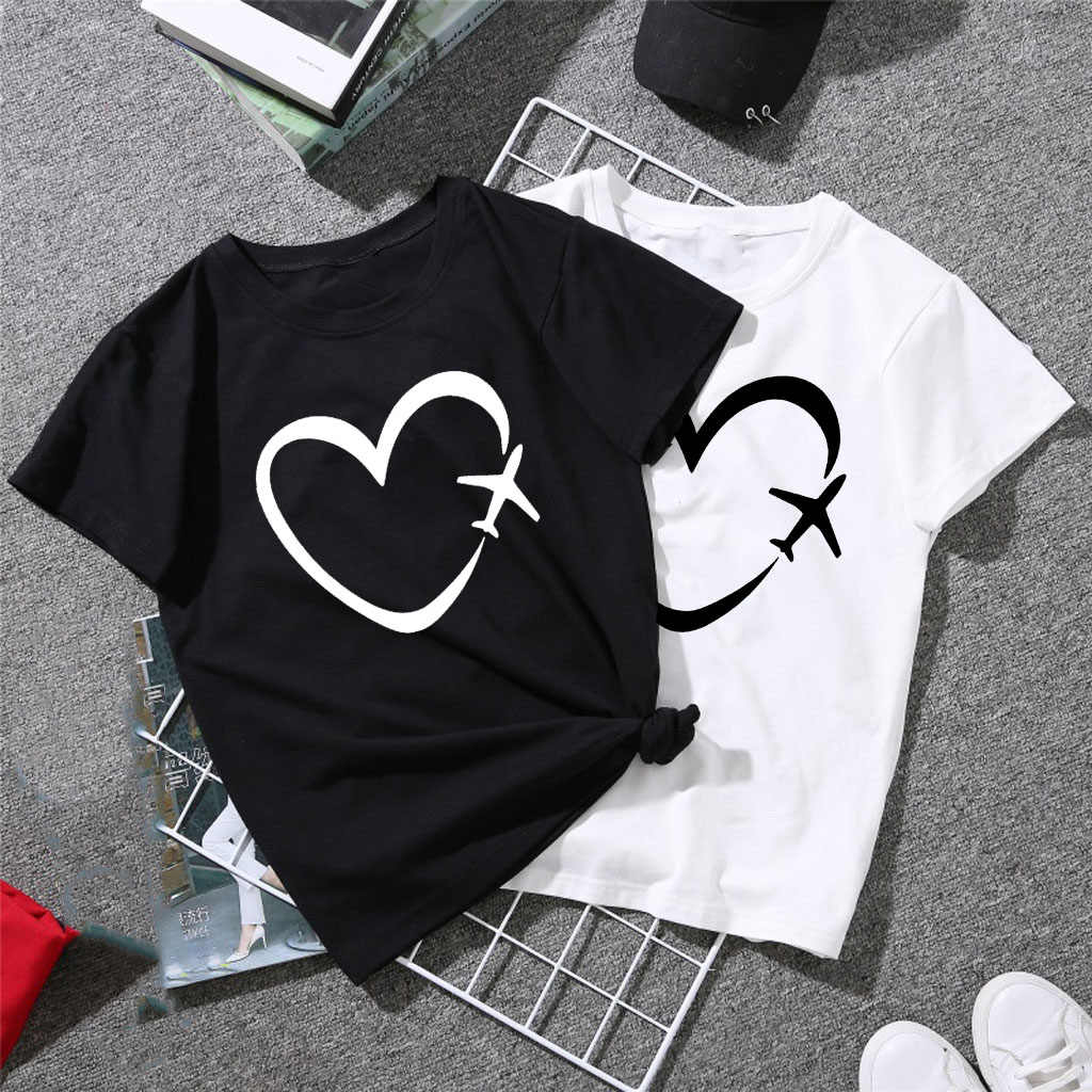 Vrouwen Tshirt Vliegtuig Reizen Hart Liefde Print Casual Streetwear Grappige Shirts Top Harajuku Grafische Tees Kleding Camisas Mujer Gift