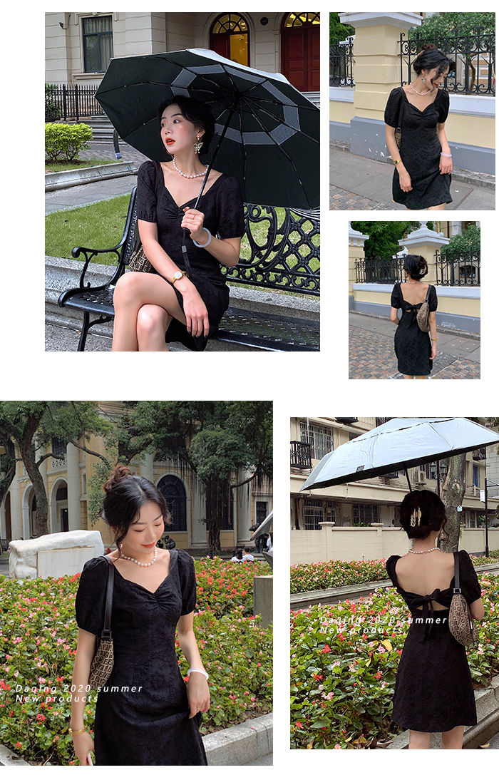 French Elegant Dress Slim Square Collar White Backless Bandage Midi Dress Female Evening Party Design Korea Style 2021 Summer