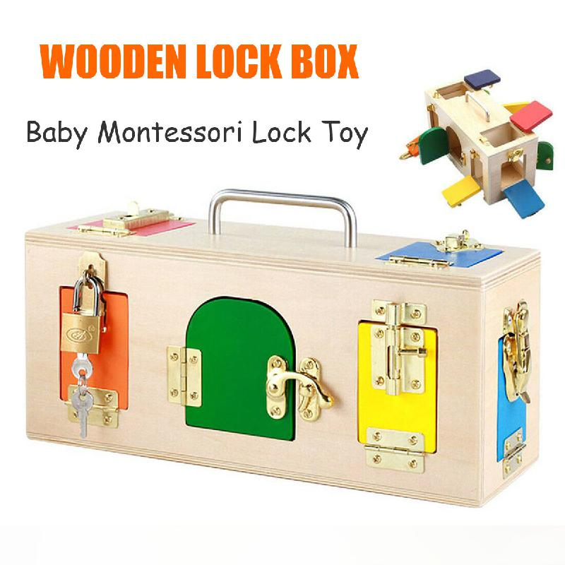 Montessori Colorful Lock Box Kids Children Educational Preschool Training Toys Length Of Lock Box 32*12*14cm Children Toys Gift