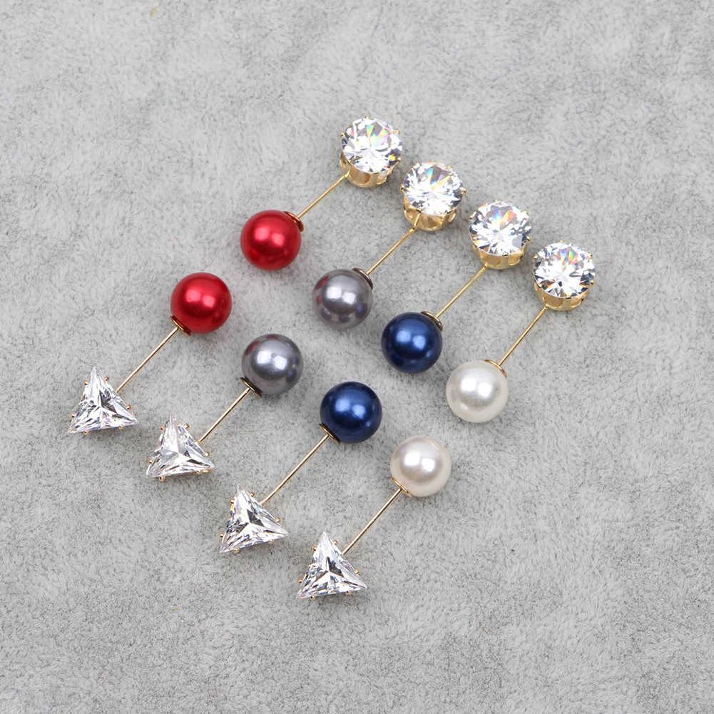 Fashion Charm Dubbele Gesimuleerde Pearl Broche Pins Voor Vrouwen Revers Broche Sieraden Jurk Pak Kristal Pin Broches