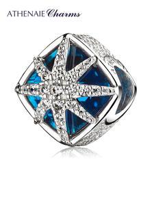 Ледяная красота из серебра 925 пробы, амулеты с синими кристаллами и фианитами, подвески со снежинками, подходят для браслета, ювелирных изде...