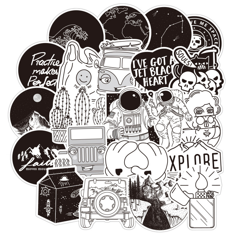 50PCS Black And White VSCO Girl Cartoon Sticker For Skateboard Laptop Suitcase Motorcycle Car Decal Toys Children Stickers F5