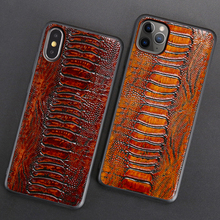 Genuine Leather Phone Case For iPhone 11 Pro Case For Apple X XS Max XR 8 7 6 6S Plus SE 2020 Cowhide Ostrich Foot Texture Cover genuine leather phone case for iphone 11 pro cases litchi texture for apple x xs max xr 6 6s 7 8 plus se 2 cowhide cover funda