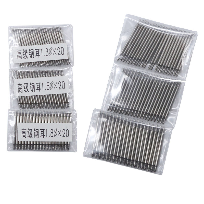 20pcs 10mm to 27mm Full Stainless Steel Spring Bar Release Spring pins Watch Band Strap Replacement Straight Pin D1.3 1.5 1.8mm