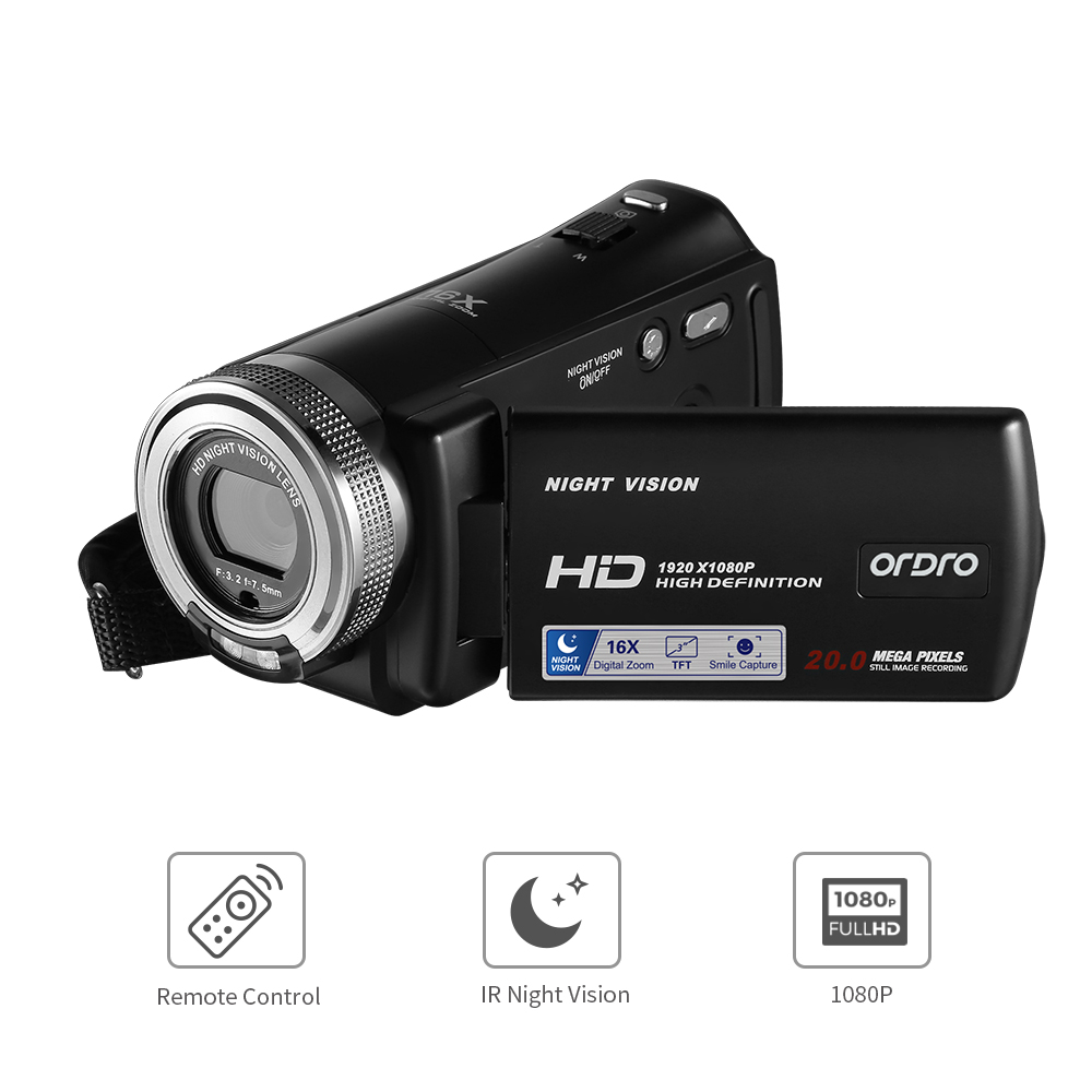 HD Camera Camcorder 1080P ORDRO HDV V12 16X Zoom IR Infrared Night Vision Digital Video Camera|Consumer Camcorders| |  - title=