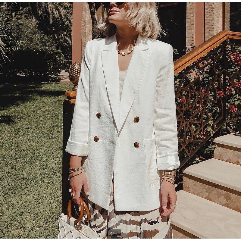 Fannic Double Breasted White Black Blazer Female Long Sleeve Office Ladies Blazer  Autumn Jacket Women Outerwear Suit Coats