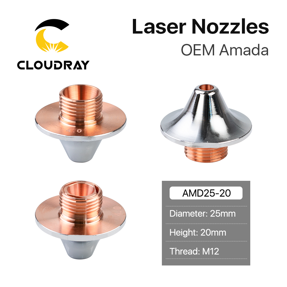 Cloudray OEM Amada Single Layer Double Layer Nozzles Dia 25mm H20 M12 Caliber 0.8-4.0mm For Fiber Laser Cutting Head