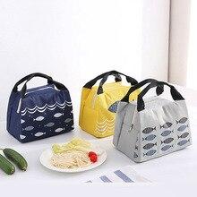 Милый креативный маленький изолированный рыбкой охлаждающий мешок складной ручной студенческий Bento Box сумка для ланча на молнии ледяной пакет