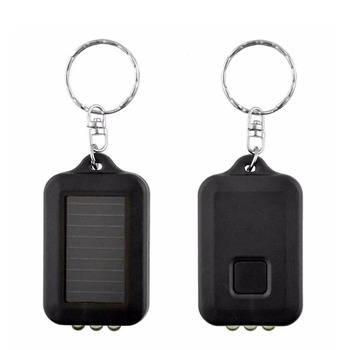 цена на Rechargeable Mini Camping Flashlight Portable LED Solar Power 3 LED Light Keychain Keyring Torch Flashlight  Random Color Gift