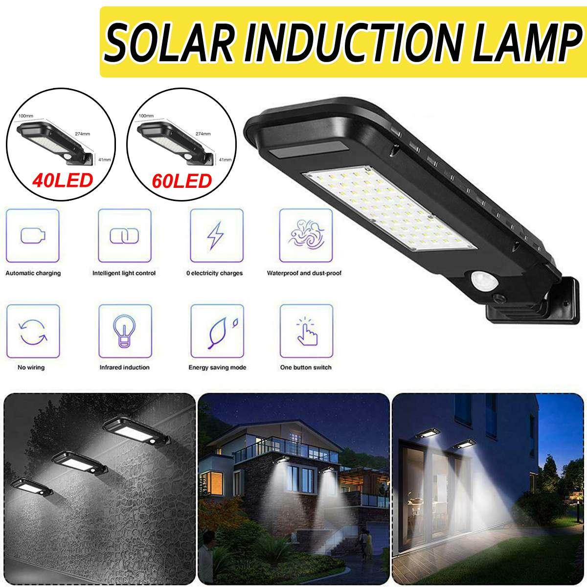 60/40 LED Street Light Waterproof LED Solar Sensor Road Floodlight Motion Sensor Wall Light Outdoor Garden Street Pathway Lamp