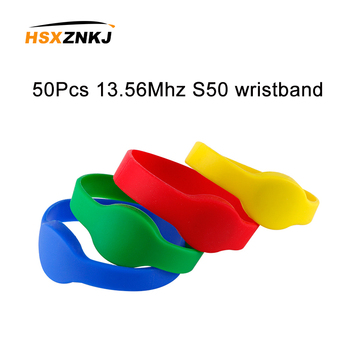 50PCS 13.56MHz S50 Keyfobs IC RFID Read-only Wristband NFC Key Token Many Color Selection Bracelet Keychain Label Access Control