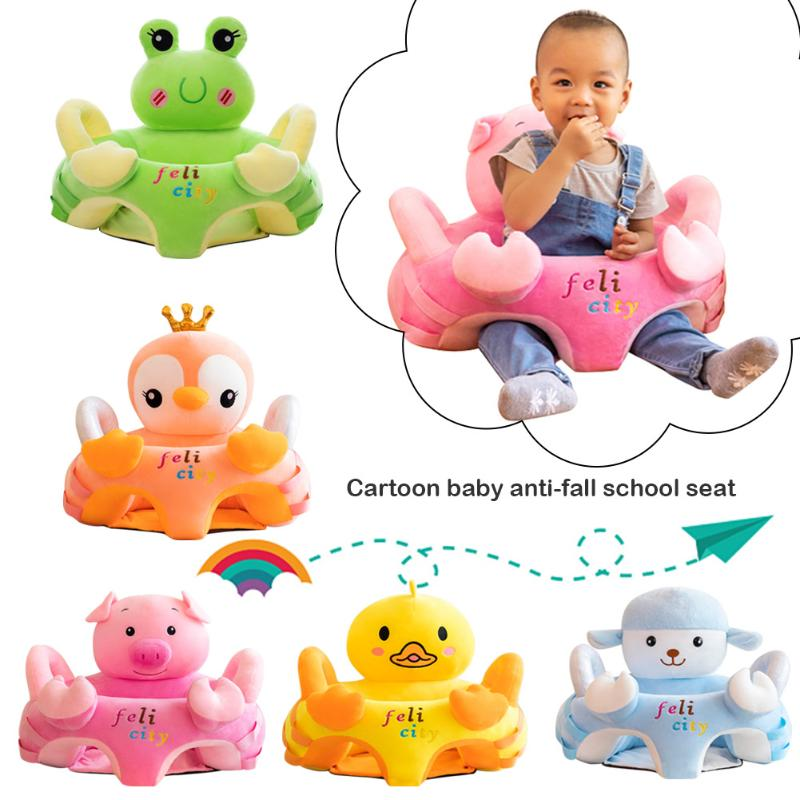 Cute Cartoon Animal Baby Sofa Cradle Support Seat Cover Toddlers Learning To Sit Plush Chair Cushion Toys Without Filler