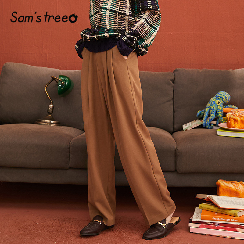 SAM'S TREE Khaki Solid Minimalist Style Wide Leg Women Suit Pants 2019 Winter Pure Zipper Waist Casual Loose Office Lady Trouser