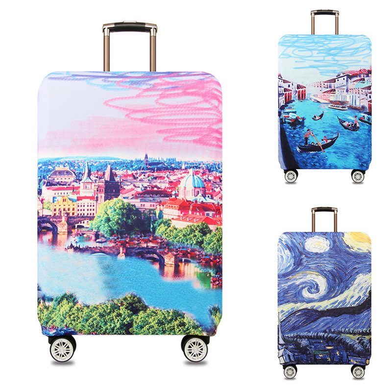 VOGVIGO Printed Trolley Luggage Protective Covers Travel Suitcase Case Elastic Suitcase Accesspries For 18-32 Inch Luggage Cover