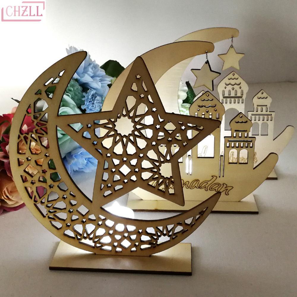 CHZLL Wooden Plaque Hanging Ornaments Kareem Gift Eid Mubarak Decoration Accessories Ramadan Decor Islam Pendant Party Supplies