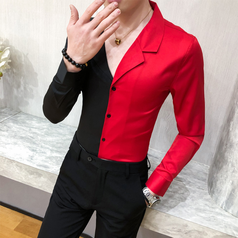 Fashion 2020 Patchwork Color Shirt Men Spring Long Sleeve Mens Casual Shirts Slim Fit Night Club Party/Prom Tuxedo Dress 3XL-M