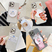 Transparent letters phone holder case for Vivo Y11 Y12 Y15 Y17 Y79 Y81 Y83 Y85 Y93 Y95 V7 Plus V9 V15 S1 cute mirror stand cover(China)