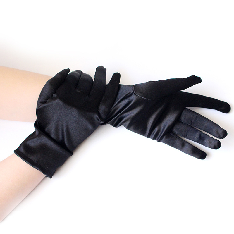 1 Pair New Fashion Women Wrist Length Gloves Sexy Black White Red Short Satin Stretch Gloves For Ladies Girls Hand Gloves ZY9005