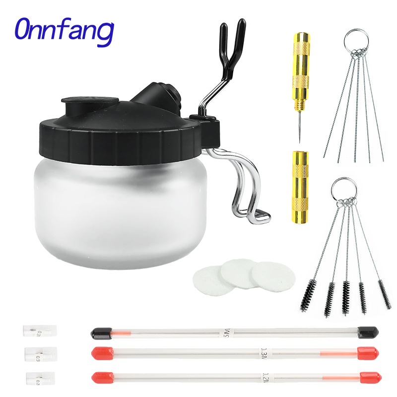 Airbrush Cleaning Pot 0.2/ 0.3/0.5mm Needle Nozzle Brush Set Paint Glass Jar Bottles Filter Frosted Spray Gun Cleaner Tools Kit