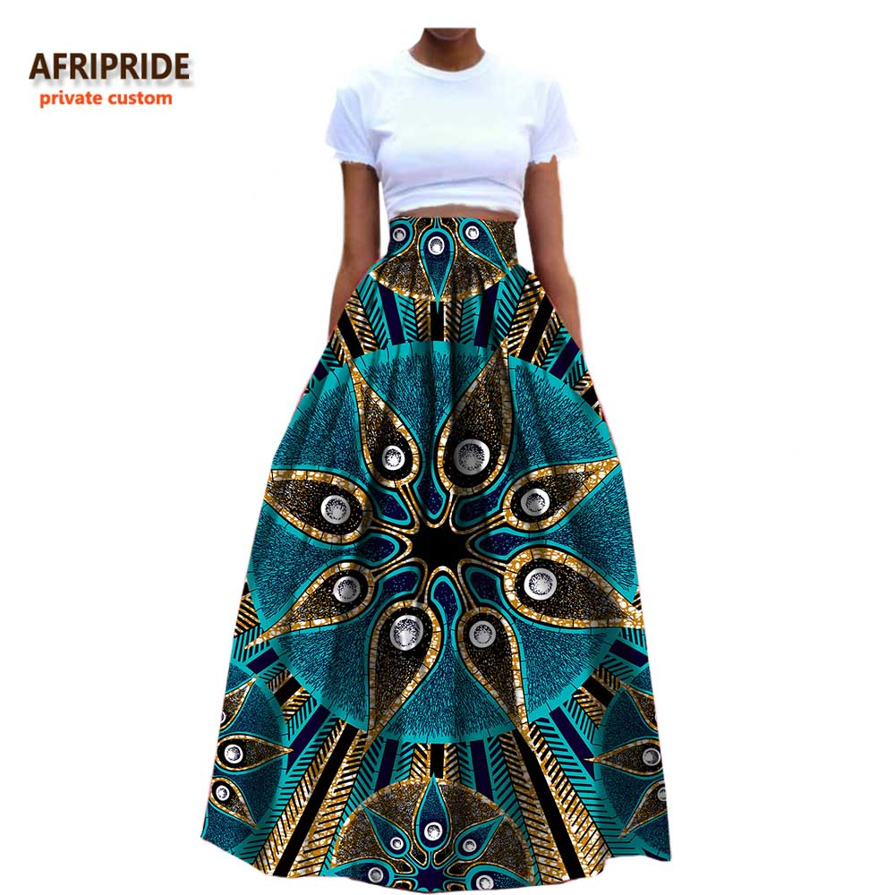 2019 African Clothes Ankle Length Formal Cotton Skirt For Women Dashiki Print Maxi Fabric Wax  Ball Grown AFRIPRIDE A722709