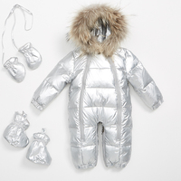 Winter baby down jacket children's jumpsuits for baby warm even feet out thickened clothes