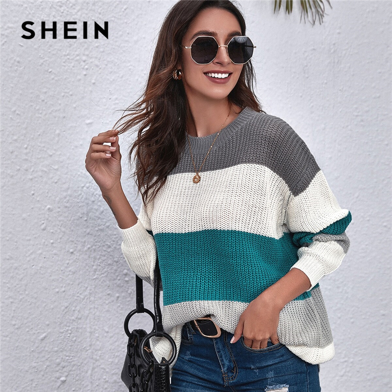 SHEIN Drop Shoulder Colorblock Oversized Sweater Women Autumn Ladies Long Sleeve Round Neck Casual Sweaters|Pullovers| - AliExpress