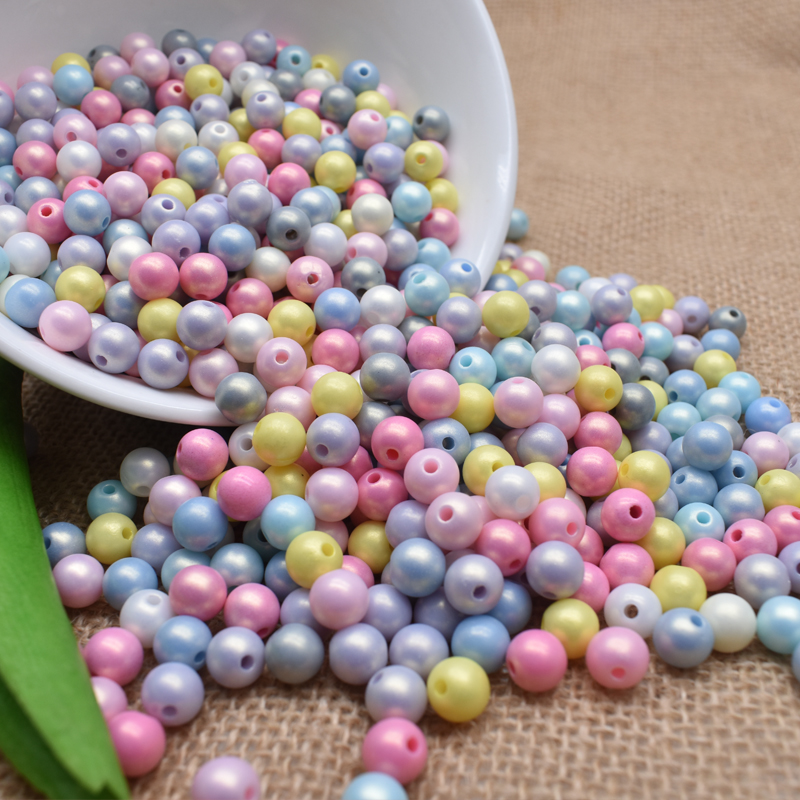 8/10mm Cheap Hot Mix Color Plastic Acrylic Clouds Beads Effect Round Spacer Beads Acrylic Sugar Beads For DIY Jewelry Making(China)