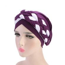 Helisopus 2020 แฟชั่นสไตล์ผู้หญิงมุสลิมผูกถักผมผ้าพันคอ Turban ผมหมวก Headwraps สำหรับสุภาพสตรีหมวกอุปกรณ์เสริมผม