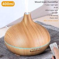 400ml Aroma Ätherisches Öl Diffusor Luftbefeuchter Fernbedienung Xiomi Luftbefeuchter Mit Holzmaserung Für Office Home