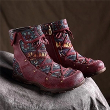 New Winter Women Boots Retro warm Leisure Embroidery Stitching lace up Ankle