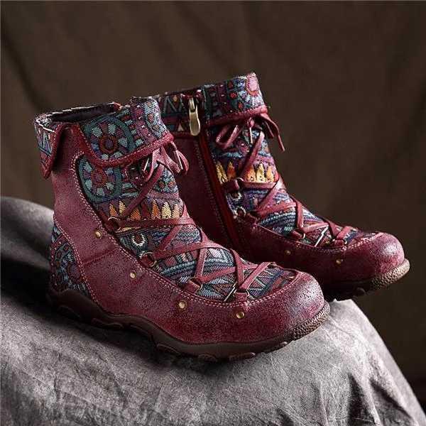 Yeni kış kadın çizmeler Retro sıcak eğlence nakış dikiş ayak bileği bağcığı botları çapraz bağlı rahat kadın ayakkabı düz ayakkabı