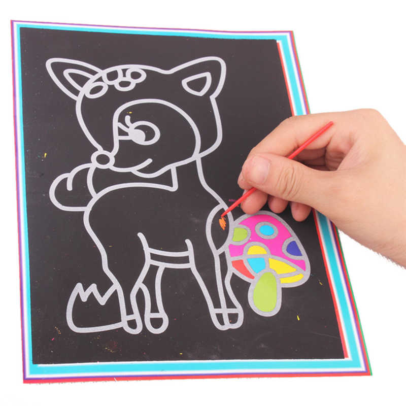 1pc 17*12cm Magic Color Scratch Art Paper Coloring Cards Available On Both Sides Scraping Drawing art and craft for children