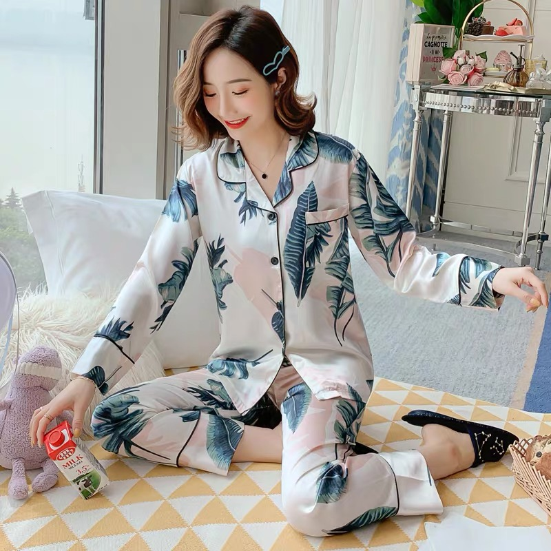 New Arrival Silk Pajamas For Women 2 Pcs Long Sleeve&Trousers Comfort Pyjama Sets Cardigan Lapel Pijama Casual Sleepwear