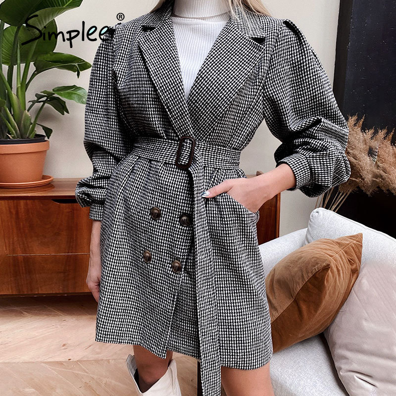 Simplee women's notched collar dress coat black plaid with puff sleeve and belt elegant classic casual look spring autumn winter|Wool & Blends| - AliExpress