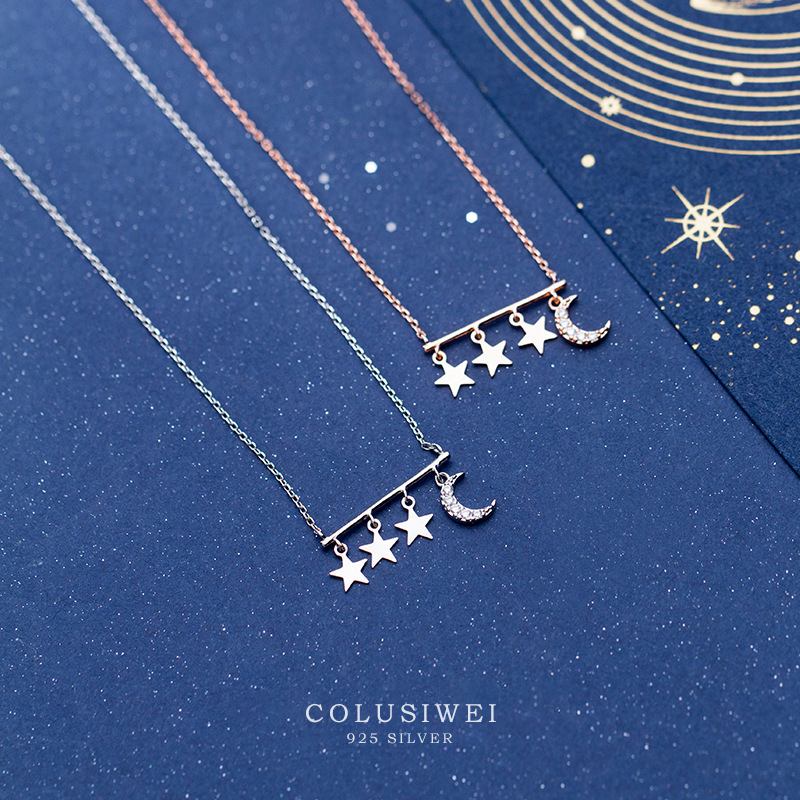 Colusiwei New Arrival Tassel 925 Sterling Silver Stars And Dazzling Moon Pendant Necklace for Women Fashion Fine Jewelry